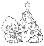 Christmas tree star ornaments lamb coloring page Stock Images