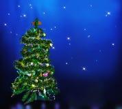 Christmas tree on star sky Stock Photography