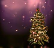 Christmas tree on star sky Royalty Free Stock Photos