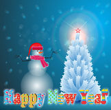 Christmas Tree. With star and snowman night Royalty Free Stock Photo