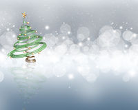 Christmas tree on a starry lights background Stock Photography