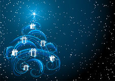 Christmas tree in starry sky Stock Image