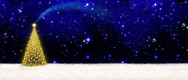 Christmas tree and starry sky. Beautifully decorated Christmas tree with golden lights and white snow.Christmas background.Christmas tree and starry sky Stock Images