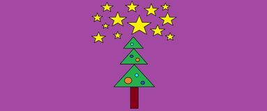 Christmas tree and starry sky Royalty Free Stock Image