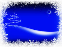 Christmas tree and starry sky Stock Images