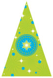 Christmas Tree with Stars. Retro lime green Christmas tree with center star and surrounding aqua ornaments and white stars Stock Photography