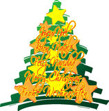 Christmas tree stars. Hand drawn christmas tree with christmas greetings in five different languages over the tree Stock Photos