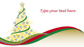 Christmas tree with stars. And waves vector illustration
