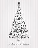 Christmas tree from stars. Christmas tree from gray stars and text stock illustration
