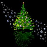 Christmas tree and stars Stock Photo