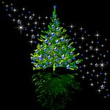 Christmas-tree and stars Stock Images