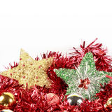 Christmas tree stars and baubles with white space on top Stock Image
