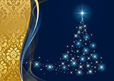 Christmas tree and stars on blue background Royalty Free Stock Photos