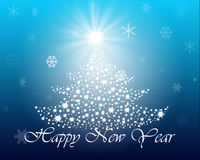 Christmas tree with stars on blue background. Christmas card with the image of Christmas trees and stars Stock Photos