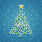 Christmas Tree Stars Blue Background Ornaments. Christmas tree on the blue background Royalty Free Stock Images
