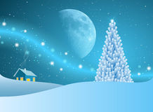 Christmas Tree Of Stars With Blue Moon Stock Photo
