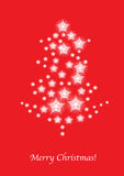 Christmas tree stars card on red Royalty Free Stock Images