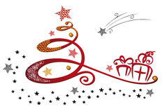 Christmas tree and stars Royalty Free Stock Photos