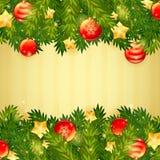 Christmas tree, stars and festive balls card. Christmas tree, stars and festive balls invitation golden card Stock Photo