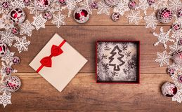Christmas tree and stars in a gift box Stock Image
