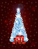 Christmas Tree Of Stars With Gifts Stock Image