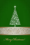 Christmas tree of stars on green Royalty Free Stock Photo