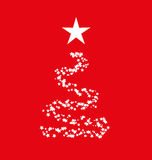 Christmas tree with stars. Illustration of a Christmas tree star with red background Royalty Free Stock Photo