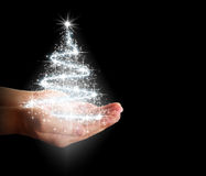 Christmas tree of stars and lights in their hands Royalty Free Stock Photos
