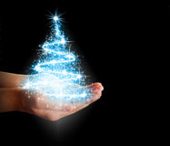 Christmas tree of stars and lights in their hands Stock Photo