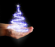Christmas tree of stars and lights in their hands Stock Image