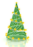 Christmas tree with stars over white. 3d render Stock Photography