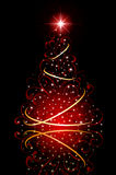 Christmas tree with stars on red background Royalty Free Stock Photo