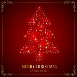 Christmas tree from stars. Red background with floral elements and Christmas tree from star, illustration Stock Photos