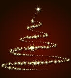 Christmas tree from stars on a red background Stock Photography