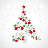 Christmas Tree Stars Red Baubles Stock Image