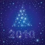 Christmas tree from stars on the sky. Vector shining Christmas background with 2010 and Christmas tree from stars on the sky (from my Christmas collection Stock Photo