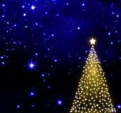 Christmas tree on stars sky background. Royalty Free Stock Photos