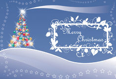 Christmas tree and stars with text Royalty Free Stock Photography