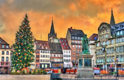 Christmas tree and statue of General Kleber in Strasbourg, France. Christmas tree and statue of General Kleber in Strasbourg - Alsace, France Stock Images
