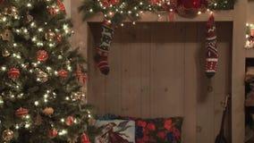 Christmas tree and stockings stock footage