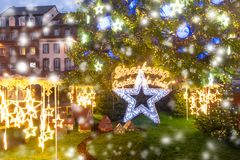 Christmas Tree in Strasbourg, Alsace, France. Christmas Tree and inscription Strasbourg Capital of Christmas, Decorated and illuminated on the Place Kleber in Royalty Free Stock Image