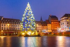 Christmas Tree in Strasbourg, Alsace, France. Christmas Tree Decorated and illuminated on the Place Kleber in Old Town of Strasbourg at night, Alsace, France Royalty Free Stock Photos