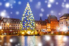 Christmas Tree in Strasbourg, Alsace, France. Christmas Tree Decorated and illuminated on the Place Kleber in Old Town of Strasbourg at night, Alsace, France Stock Photography