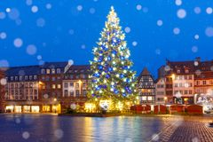 Christmas Tree in Strasbourg, Alsace, France. Christmas Tree Decorated and illuminated on the Place Kleber in Old Town of Strasbourg at night, Alsace, France Royalty Free Stock Image