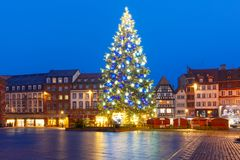 Christmas Tree in Strasbourg, Alsace, France. Christmas Tree Decorated and illuminated on the Place Kleber in Old Town of Strasbourg at night, Alsace, France Stock Images