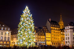 Christmas tree in Strasbourg Stock Images
