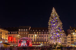 Christmas tree in Strasbourg. Christmas tree at Place Kleber in Strasbourg, Capital of Christmas. Alsace, France Stock Photography