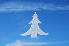 Christmas tree street light decoration Stock Image
