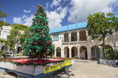 Christmas tree in a street of Road Town in Tortola Stock Photos