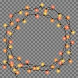 Christmas tree string garland in circle shape and text space isolated on dark background. Christmas tree string garland in circle shape and text space isolated Stock Images